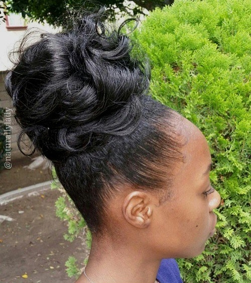 Updo Hairstyles With Bangs For Black Women 97